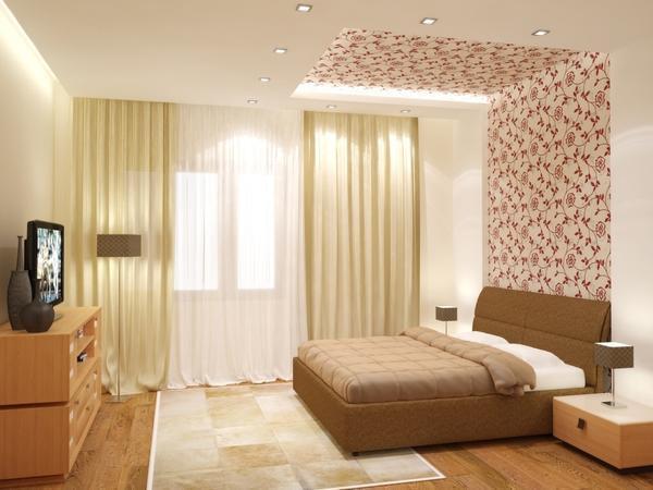 Выбирая цвет обоев для потолка, учитывайте освещенность комнаты и особенность интерьера