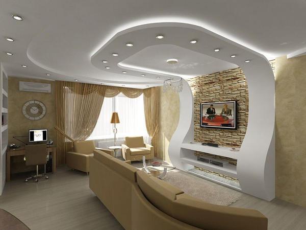 Гипсокартон – является достаточно пластичным материалом, который поможет вам с легкостью скрыть недостатки потолка