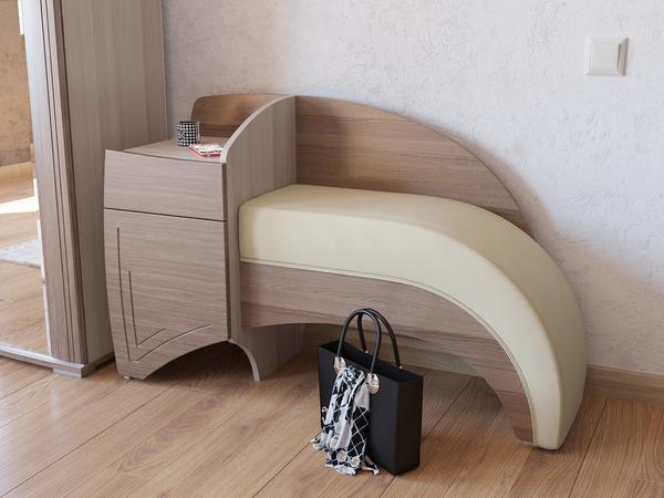 Если в прихожей есть шкаф-купе или другая мебель, то диван должен органично с ними сочетаться по цвету и стилю