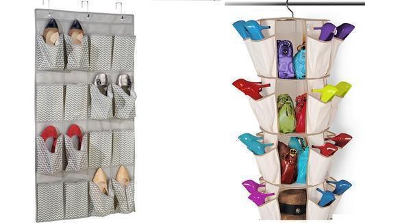 Если конфигурация прихожей не позволяет использовать массивную мебель, можно сшить специальный органайзер из плотной ткани для хранения летней обуви