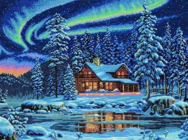 Красивый вышитый зимний пейзаж является отличным новогодним подарком