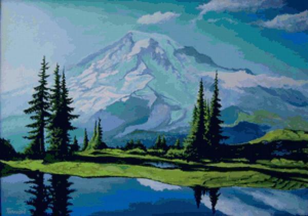 Для любителей гор прекрасным подарком станет вышитый пейзаж горных хребтов