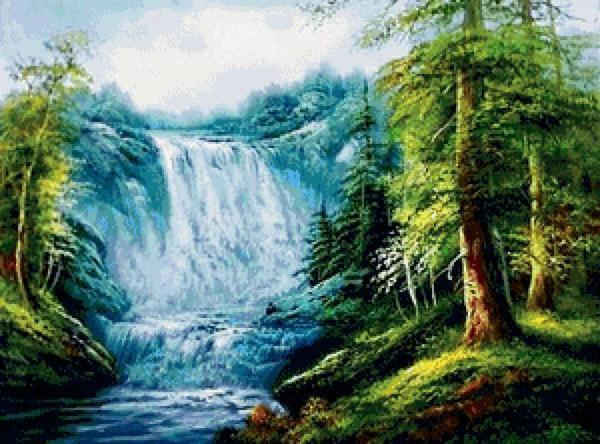 Пейзажи с водопадом являются еще одним вариантом изделия, которое прекрасно впишется в интерьер любого помещения