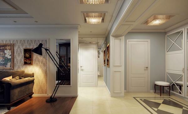 Отсутствие ковра в смежной гостиной-прихожей позволит визуально увеличить пространство в помещении