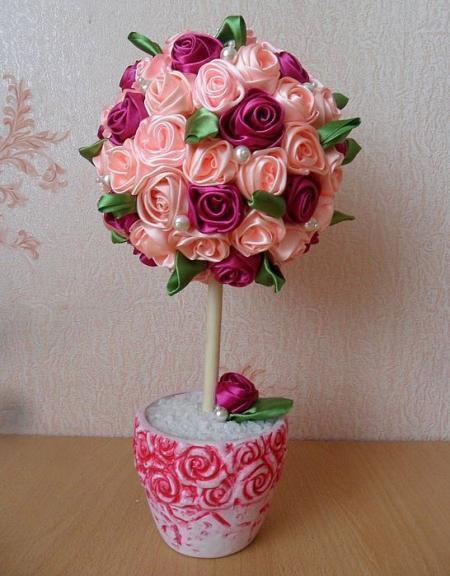 Топиарий из атласных лент: своими руками мастер-класс, фото, как сделать пошагово, сердце и подсолнухи, свадебные цветы