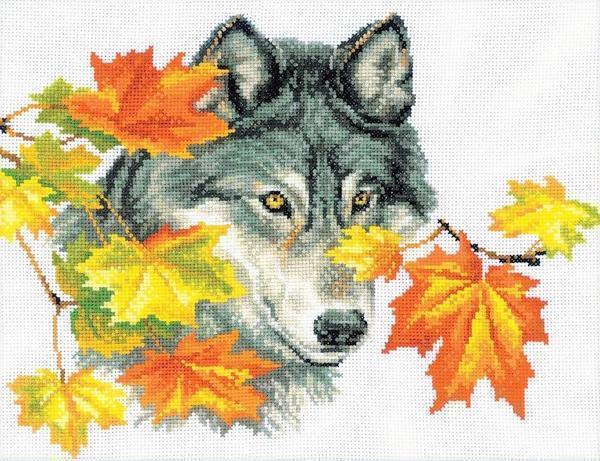 Вышитая картина животного завораживает своей красотой и благородством