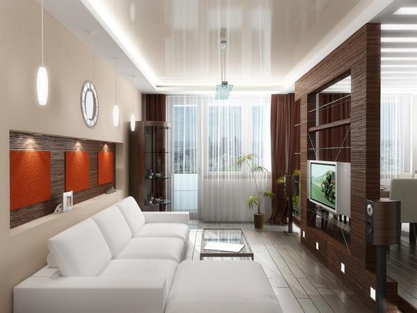 Для узких комнат отличным вариантом будут глянцевые поверхности