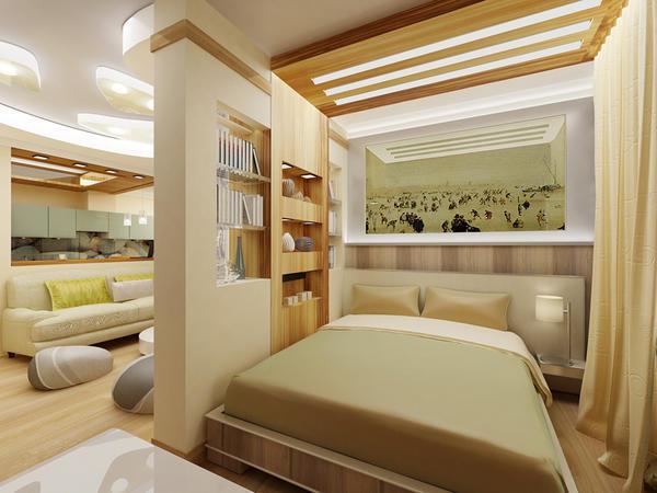 В современной квартире спальня и зал делятся на зоны