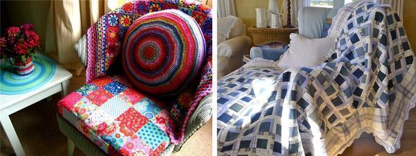 При помощи лоскутной техники можно создавать экстравагантные и эксклюзивные вещи для дома: подушки, чехлы на мебель, покрывала