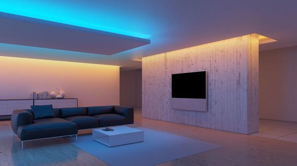 Закарнизная подсветка дает приятное легкое свечение, позволяющее создать атмосферу умиротворения в комнате