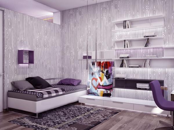 Характерными материалами для отделки стен в стиле модерн являются обои с ассиметричными или изогнутыми линиями