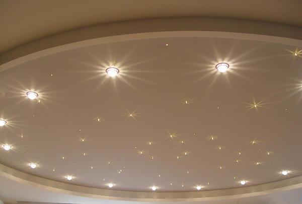 Для встраиваемых точечных светильников подобраны дизайнерские разработки с идеями оформления потолочного покрытия таким видом освещения