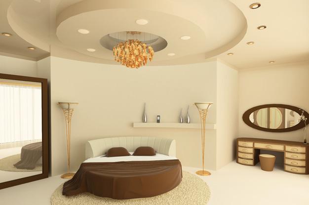 Двухуровневые потолки из гипсокартона подчеркивают и дополняют общий дизайн помещения