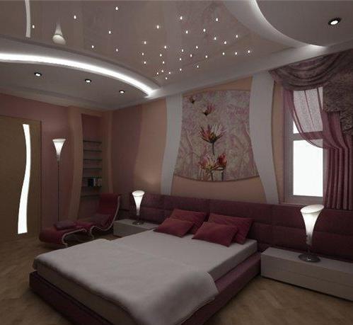 Красивый и стильный натяжной потолок придаст спальной комнате необходимый уют и комфорт