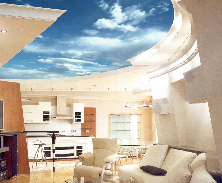 Натяжные потолки в современном интерьере способны преобразить любую комнату