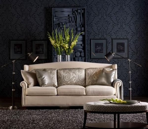 Использовать темные обои в интерьере можно учитывая освещение, размер комнаты, стиль и обстановку помещения