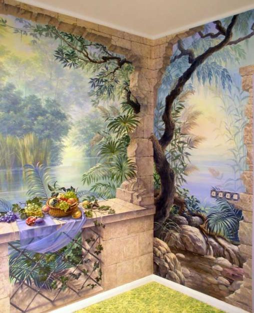 Художественная роспись стен и потолков дает возможность создать в комнате уникальный и неповторимый интерьер