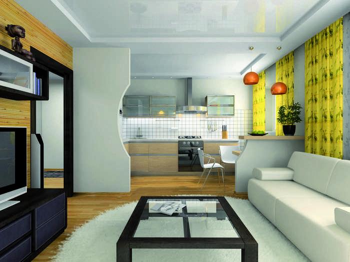Раздвижная перегородка — отличный способ зонирования кухни и гостиной