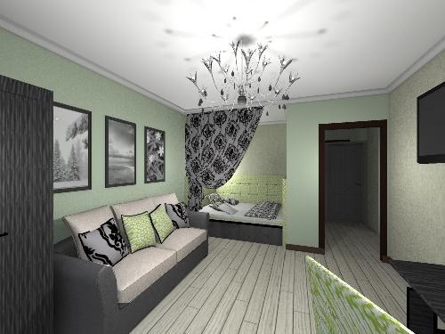 Современный дизайн даст возможность органично совместить спальню и гостиную
