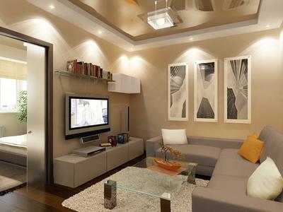 Для создания оригинального интерьера в гостиной с натяжным потолком отличным выбором станет использование точечных светильников