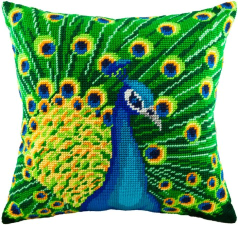 Для того чтобы создать красивую вышитую подушку, следует запастись схемой, материалами и терпением