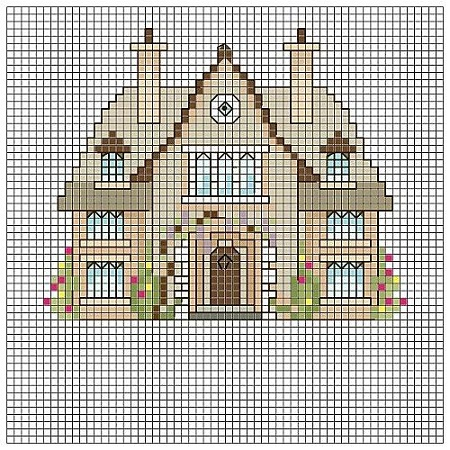 Существует множество схем для вышивания домов, благодаря которым создать красивую композицию сможет даже новичок