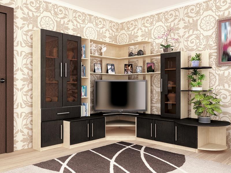 Угловая стенка для гостиной - практичный вариант оригинальной мебели