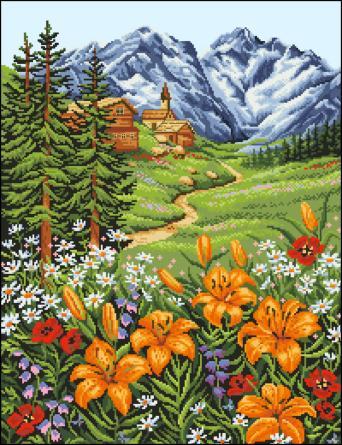 Пейзажи на вышитых картинах смотрятся очень красиво