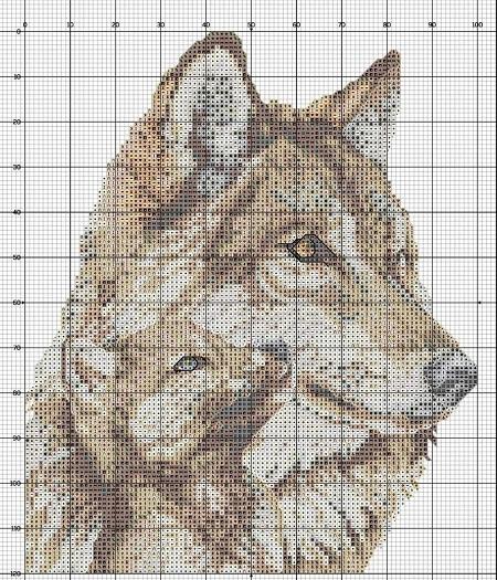 Вышивка с изображением волка, вставленная в рамку, является отличным элементом декора для любого интерьера