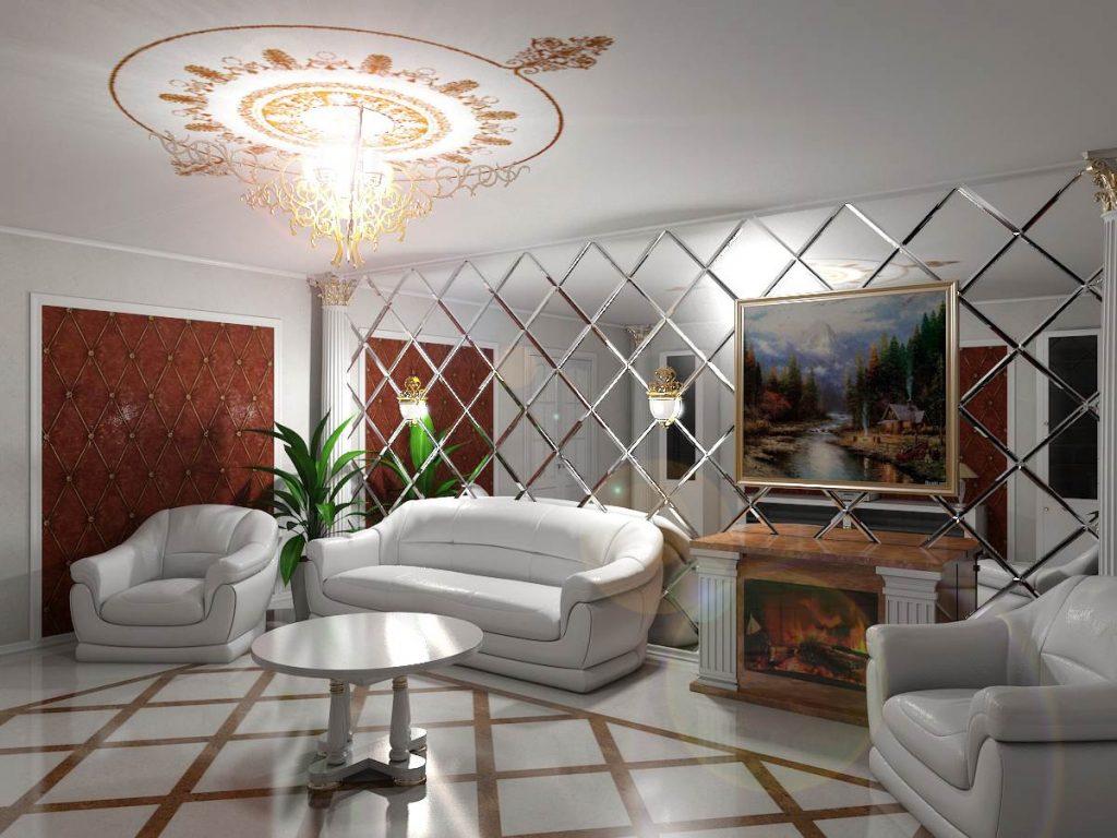 Эффект визуально увеличивающегося пространства придает комнате настроение, а хозяевам приятное ощущение простора