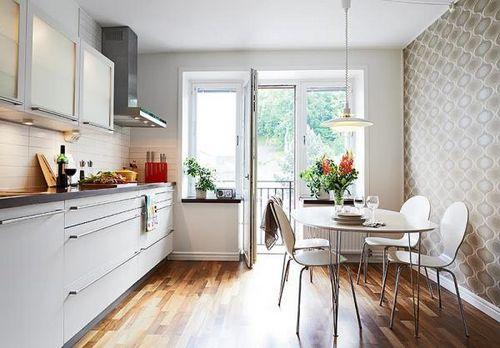 дизайн обоев для кухни комбинированные фото