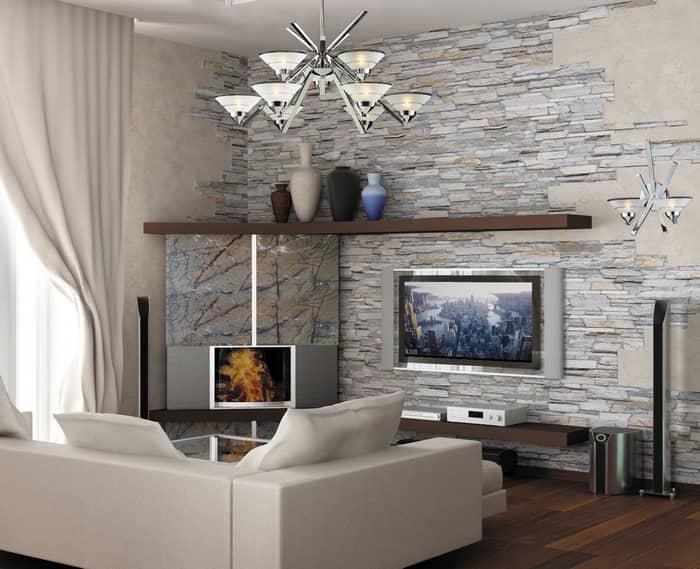Декоративный камень в гостиной смотрится изысканно и роскошно