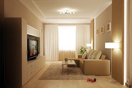 Если окна гостиной выходят на южную сторону, то в интерьере лучше использовать прохладные оттенки, а если на северную – теплые