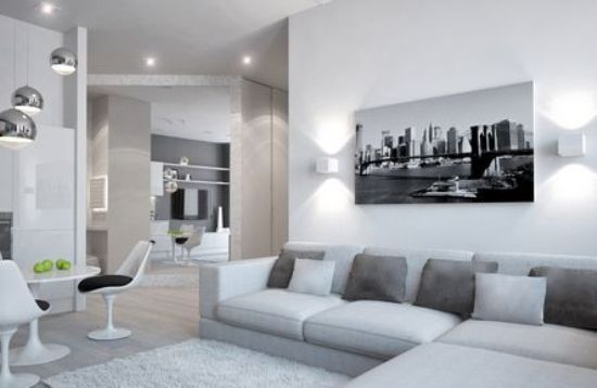 Правильно подобранный интерьер в сером цвете может зрительно увеличить пространство комнаты