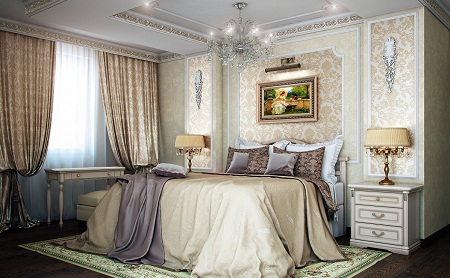 Спальня в классическом стиле отличается особой роскошью благодаря красивой мебели, объемной люстре и картинам с широкой рамкой