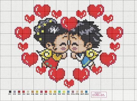 Вышивка любовной тематики является отличным подарком ко Дню святого Валентина