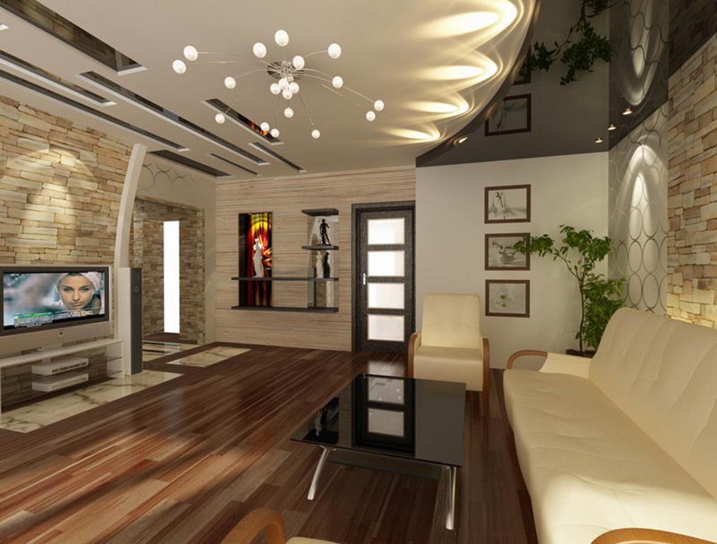 Двухуровневый потолок будет отличным вариантом для просторной гостиной