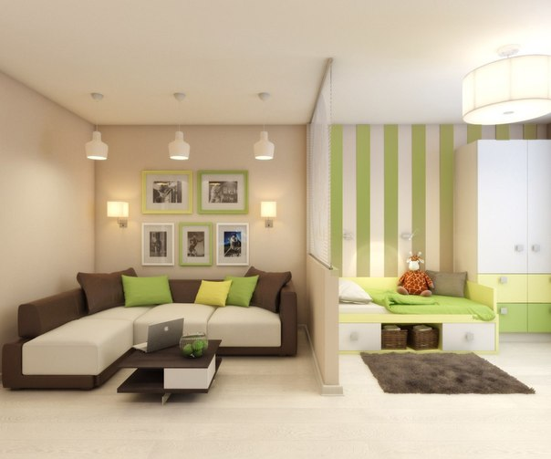 Обустроить детский уголок в гостиной можно при помощи правильного зонирования пространства