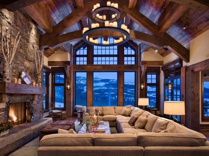 Гостиная в стиле шале станет уютным дополнением любого помещения