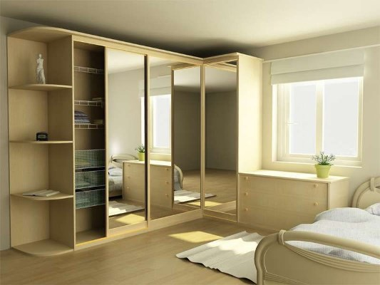 Красивой и ухоженной гостиная будет смотреться благодаря наличию в комнате стильного углового шкафа