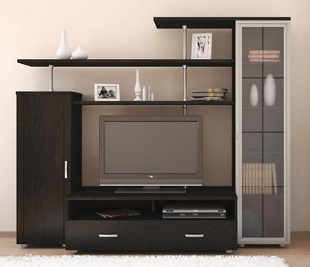 Стенка в гостиной позволяет разместить не только телевизор, но и другие декоративные элементы и бытовые предметы