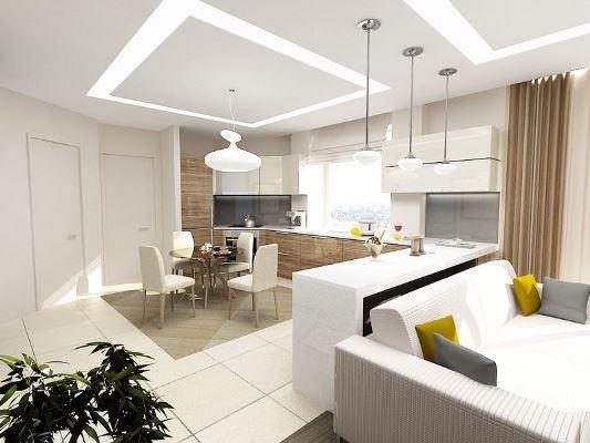 Для небольшого помещения отличным вариантом экономии пространства станет объединение гостиной и кухни