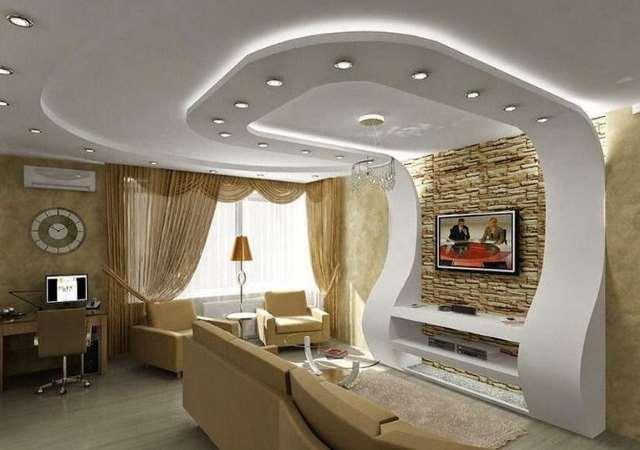 С помощью гипсокартона можно  изменить геометрию помещения, выровнять поверхность стен и потолка