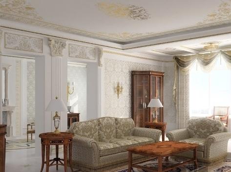 Гостиная в классическом стиле всегда выглядит изысканно и дорого