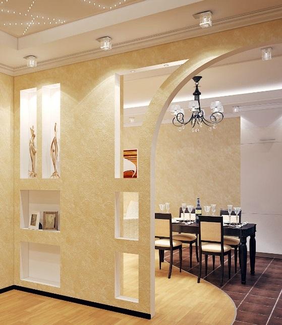 Арка из гипсокартона в помещении смотрится элегантно и оригинально