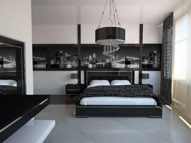 В спальной комнате, оформленной в стиле хай-тек, все линии должны быть четкими и ровными