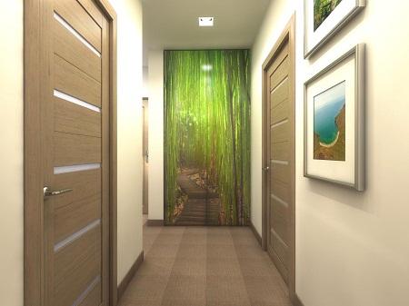 В качестве декора для коридора в панельном доме отлично подойдут картины или объемная фотопечать на стене