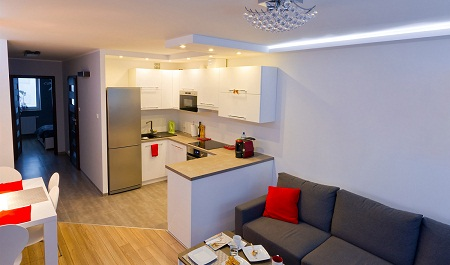 Небольшой зал-кухня может быть вполне функциональным, если правильно выполнить зонирование