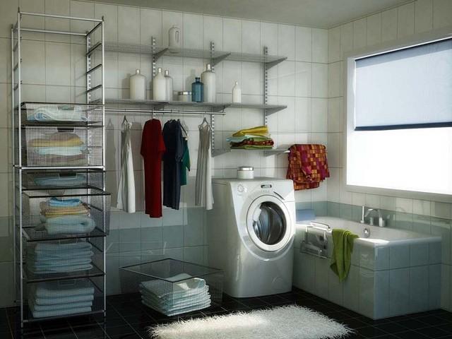 Даже в ванной комнате можно выкроить несколько метров и обустроить место под гардеробную, отказавшись от традиционных комодовr*n