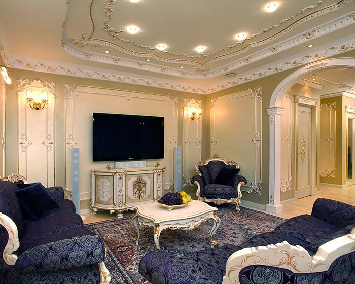 Для зала в стиле барокко характерны помпезность и дороговизна